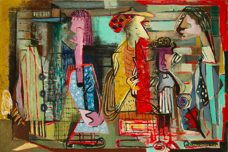 Title unknown (Subway), 1945 Oil and sand on canvas, 24 x 36 in. | © Estate of Norman W. Lewis; Courtesy of Michael Rosenfeld Gallery LLC, New York, NY