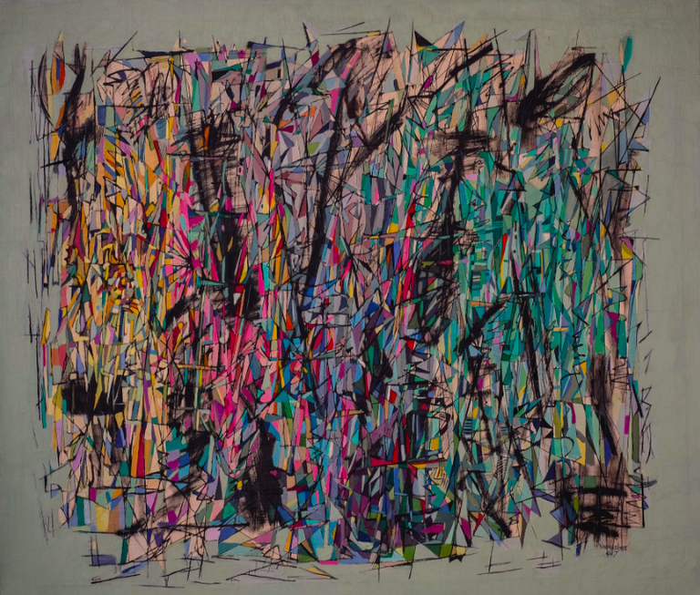 Changing Moods, 1947 Oil and ink on canvas, 38 x 43 1/2 in.; framed: 39 x 45 3/4 x 1 3/4 in. | © © Estate of Norman W. Lewis; Courtesy of Michael Rosenfeld Gallery LLC, New York, NY