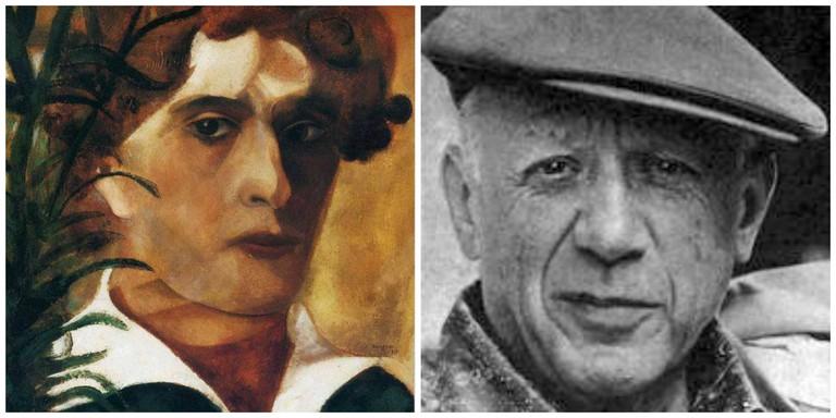Self-portrait by Marc Chagall (1914) │© WikiCommons ; Pablo Picasso in 1962 │© Revista Vea y Lea