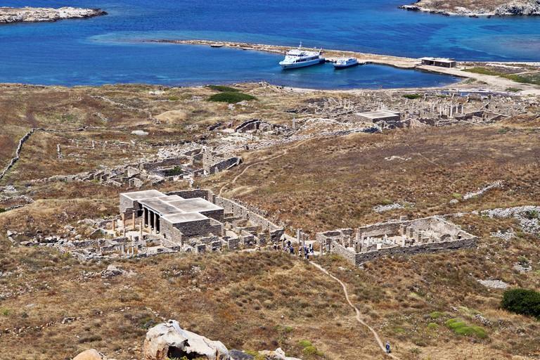 Delos island at the aegean sea in Greece