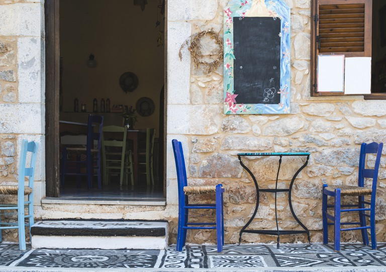 Typical greek cafe Greece, Mani