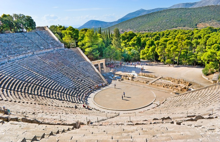 The stone amphiteater in Epidaurus is the fine example of the ancient greek architecture