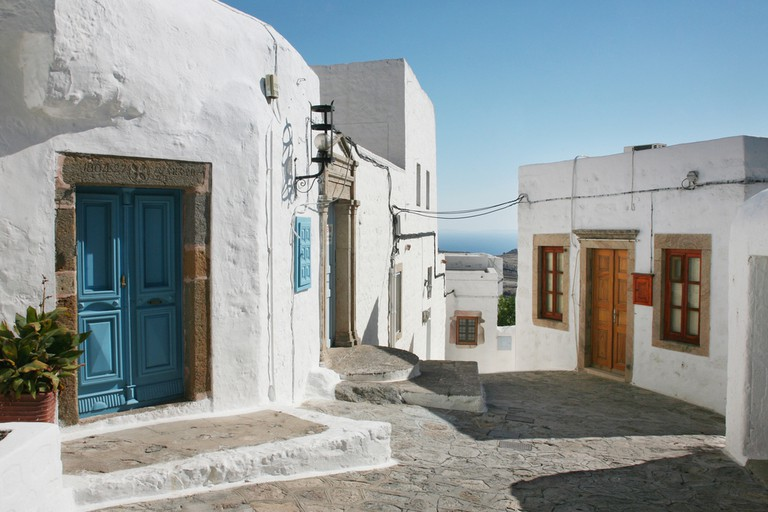 Street in the old town of Patmos, Greece