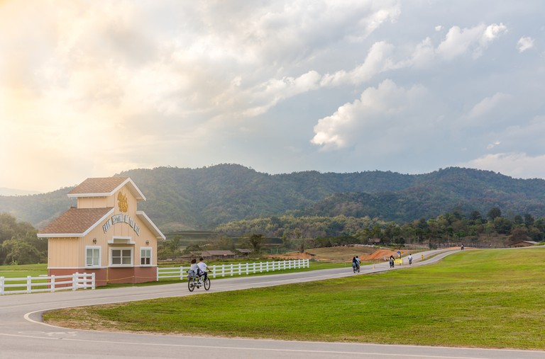 Cycling tourists in singha park in Chiang Rai-Thailand