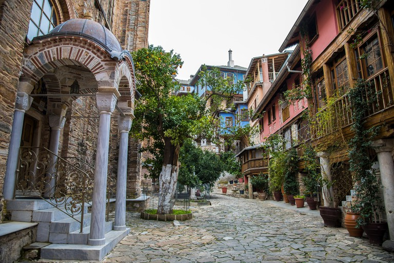 Inside of Holy Monastery of Docheiariou, Mount Athos