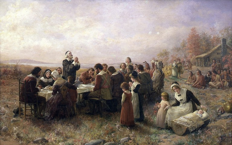 The First Thanksgiving at Plymouth, oil on canvas by Jennie Augusta Brownscombe (1914) | Public Domain/Wikicommons