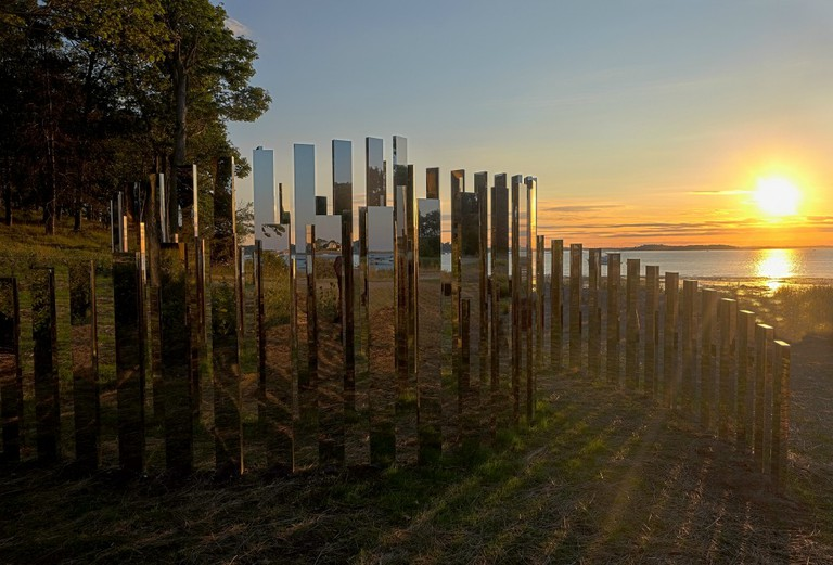 JEPPEN HEIN IMAGES, CAPTION:Installation view of Jeppe Hein, A New End, 2016, at World's End in Hingham, MA. Part of the Art and The Landscape series presented by The Trustees of Reservations. Photo by Mark Gardner, Courtesy of The Trustees.