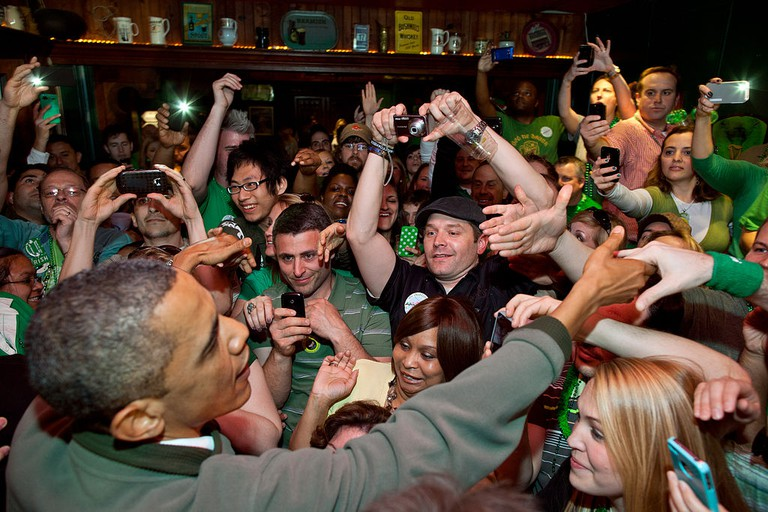 Barack Obama in an Irish pub on Saint Patrick's Day 2012