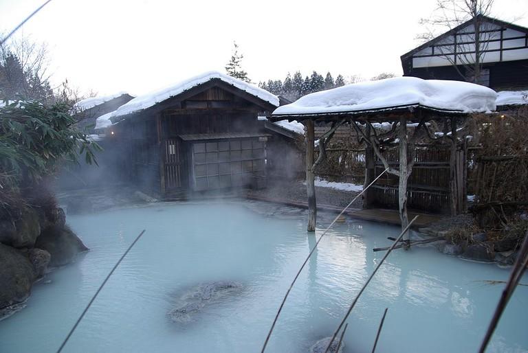 Hot spring/onsen in winter