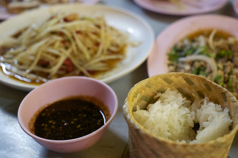 Thai Isaan Food With Sticky Rice