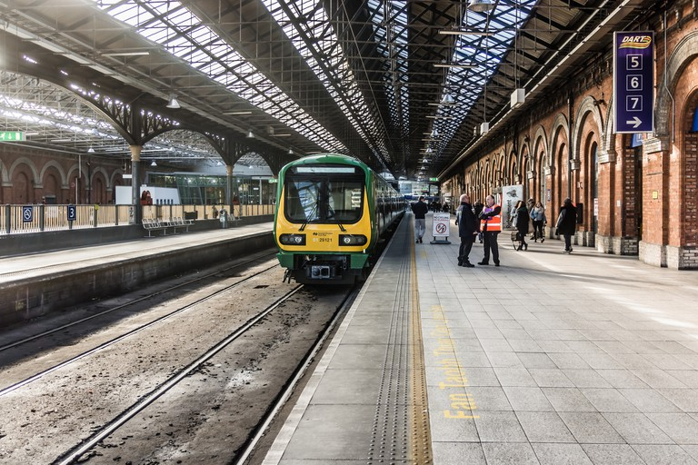 Trains in Connolly Station Dublin