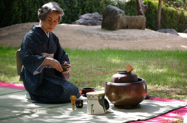 An outdoor tea ceremony
