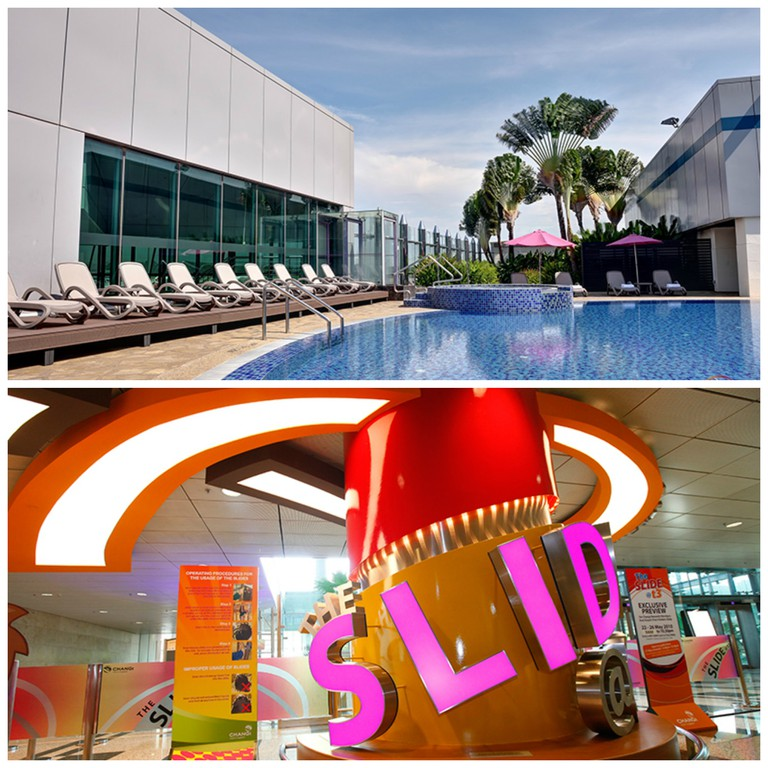Terminal 1 Rooftop Swimming Pool | Terminal 3 Slide@T3 || Images Courtesy of Changi Airport