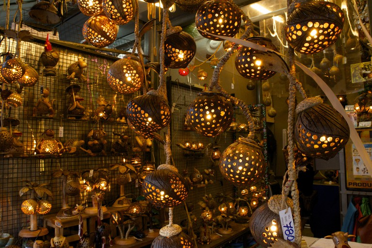 Wood carved lamps at Chatuchak Weekend Market