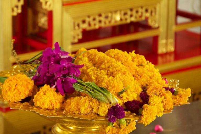 Marigold offerings at Wat Traimit
