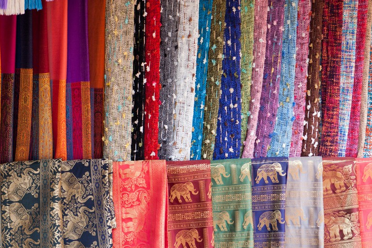 Shawls and scarfs for sale at the 'Long Neck Village'