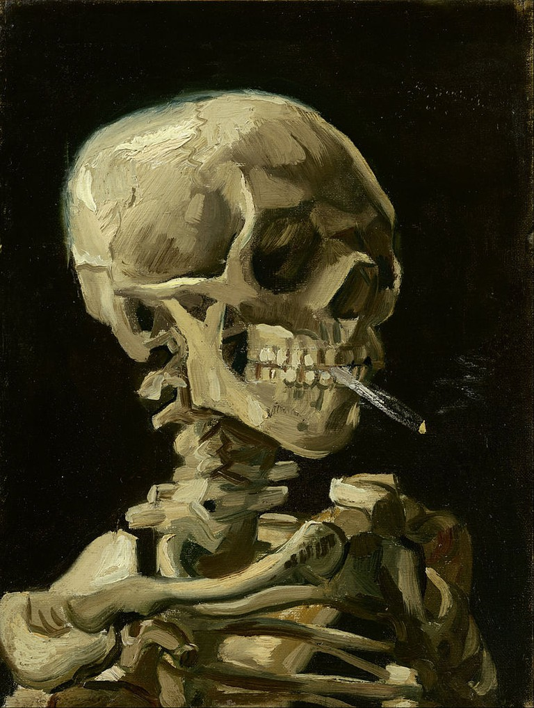 Vincent van Gogh - Head of a skeleton with a burning cigarette - Google Art Project.