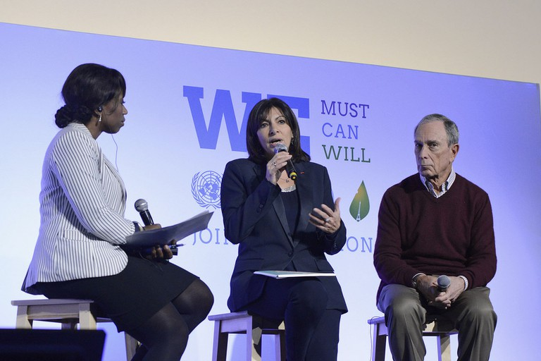 Anne Hidalgo with Michael Bloomberg on LPAA Action Day │© UNclimatechange
