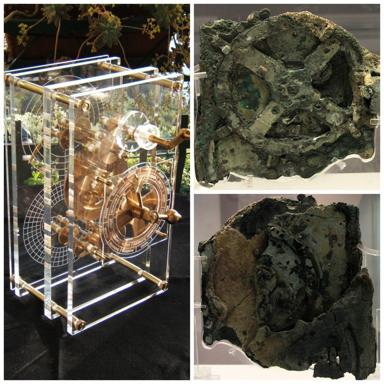 Antikythera Machine mechanical model | © Mogi/WikiCommons / Main Antikythera mechanism fragment (fragment A) | ©Marsyas/WikiCommons / Fragment A (rear) of the Antikythera mechanism |©Marsyas/WikiCommons