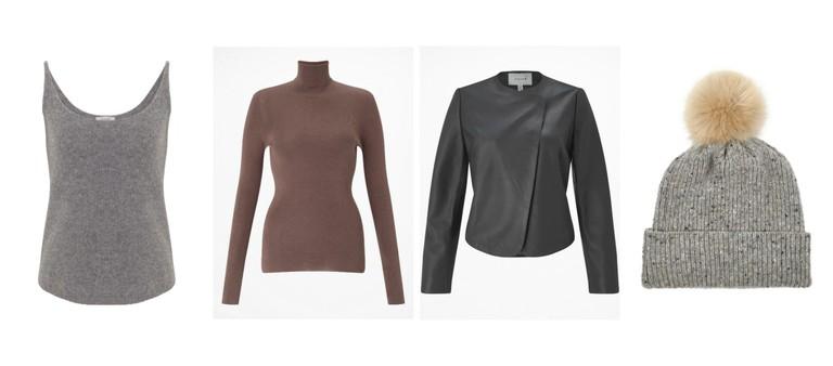 Cashmere Tank Top / Silk Cotton Neck, Rich Paprika / Short Leather Jacket / Hana Donegal Pom Hat