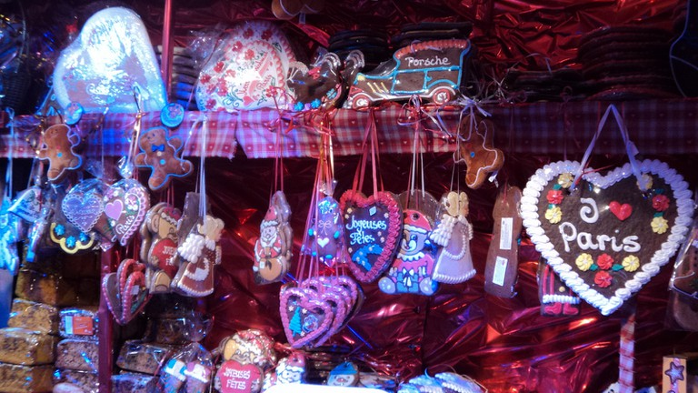 Christmas market stall in Paris
