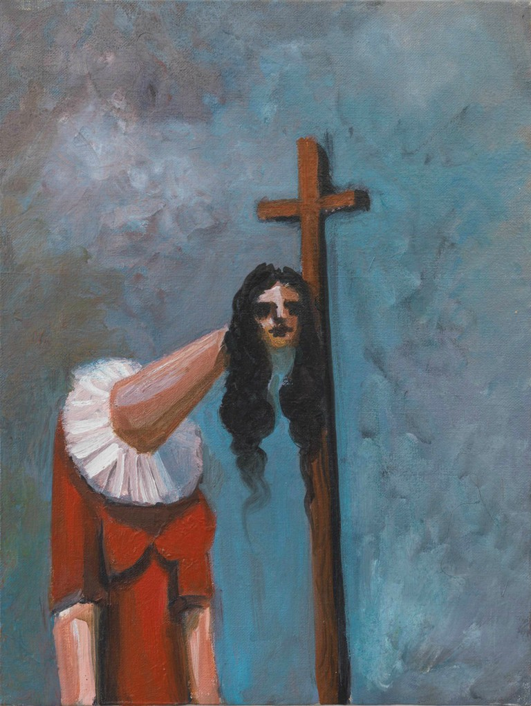 George Condo Woman with Cross, 2004 Oil on canvas, 40.6 x 30.5 cm Collection of the artist, New York Courtesy Sprüth Magers and Skarstedt © VG Bild-Kunst, Bonn 2016 Photo: © George Condo 2016