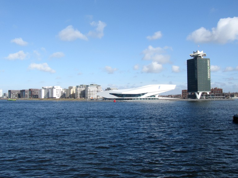 Amsterdam's northern skyline featuring the EYE and A'DAM Toren