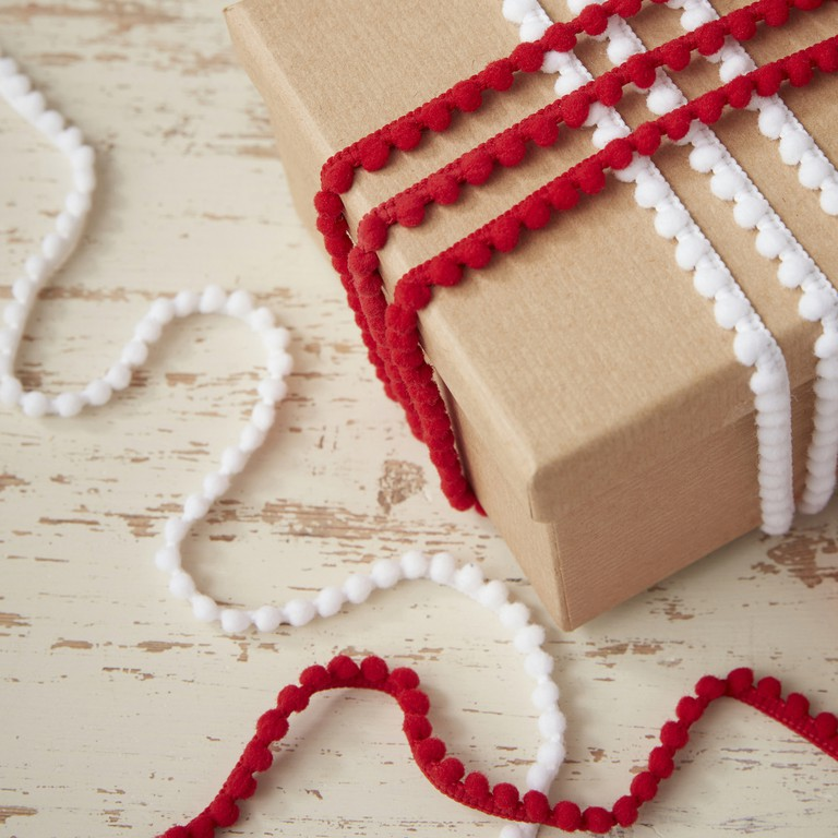 Ginger Ray festive red and white pom pom ribbon kit, £2.49