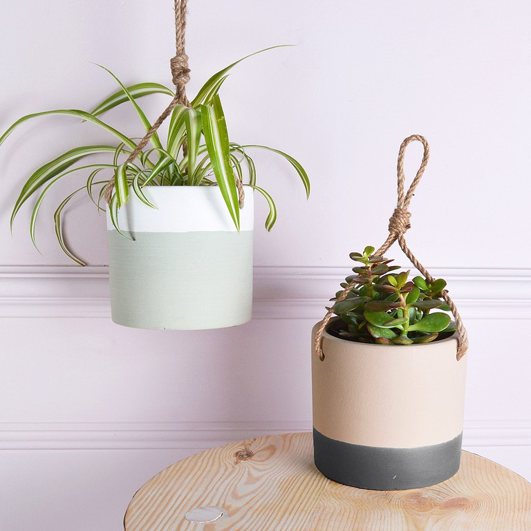Hanging ceramic plant pots from Mia Fleur,  £14.95 each