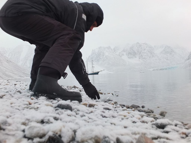 Joshua Abarbanel testing the Ice Boat in the arctic, 2015. Photo © richard painter