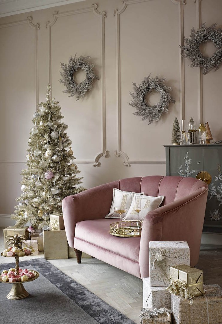 Pretty pastels, deco glamour and modern metallics inspired this M&S Christmas interior