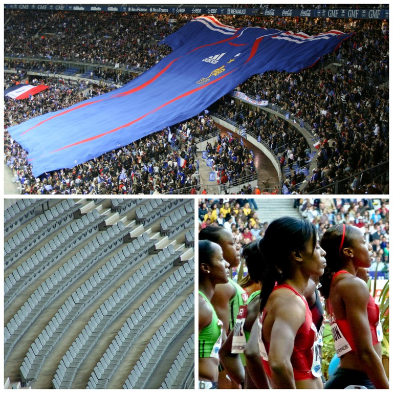 Massive France football jersey at the Stade de France │© Dennis Trigylidas ; Empty chairs at the Stade de France │© Wouter ; Female athletes at the Stade de France │© Yann Caradec