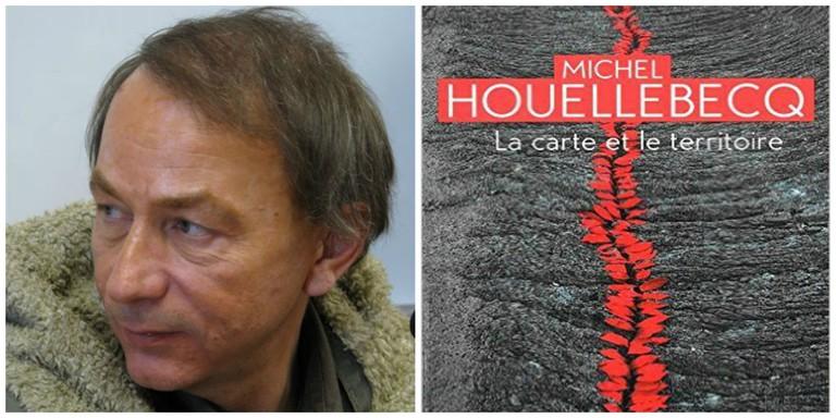Michel Houellebecq in 2008│© Mariusz Kubik, GFDL ; Michel Houellebecq's La Carte et le Territoire │© Flammarion