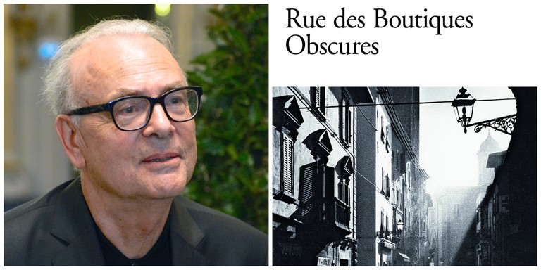 Patrick Modiano in 2014│© Frankie Fouganthin ; Patrick Modiano's Rue des Boutiques obscures │© Gallimard