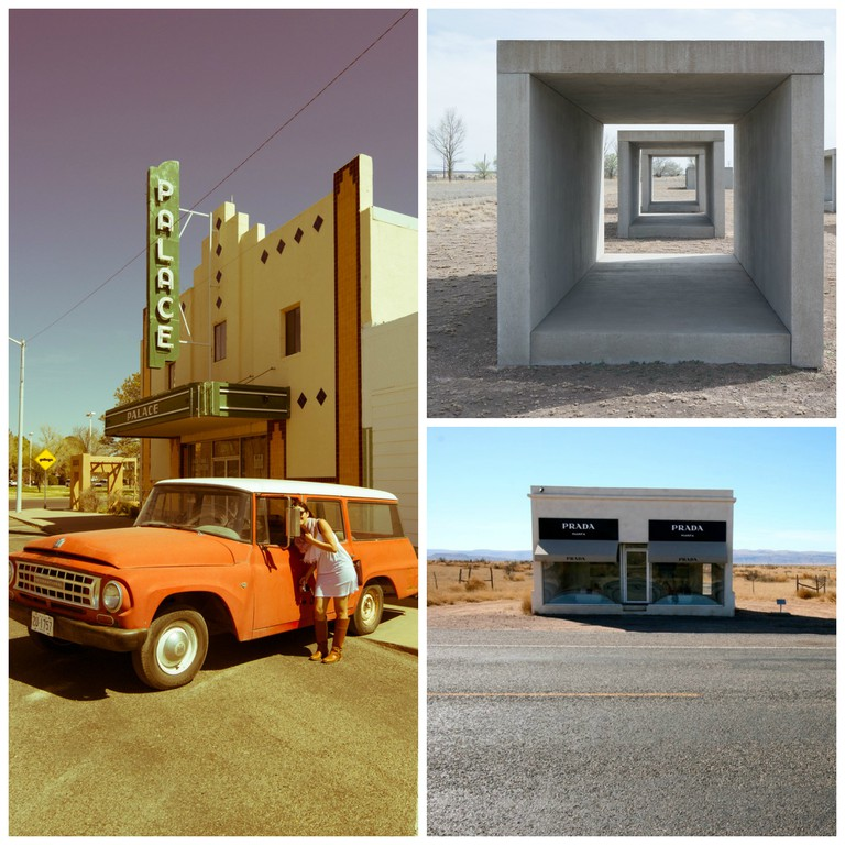 Donald Judd © Nan Palmero/Flicker, Prada Marfa © Monica D./Flickr, Palace Marfa © Nan Palmero/Flickr