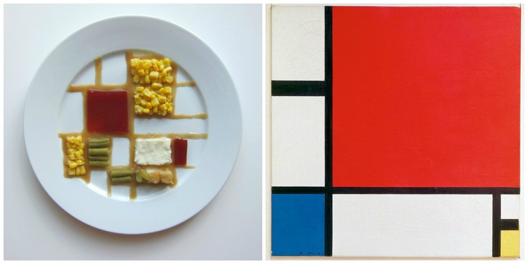 Left, inspired by Piet Mondrian. Right, Piet Mondrian, 1930 – Mondrian Composition II in Red, Blue, and Yellow.