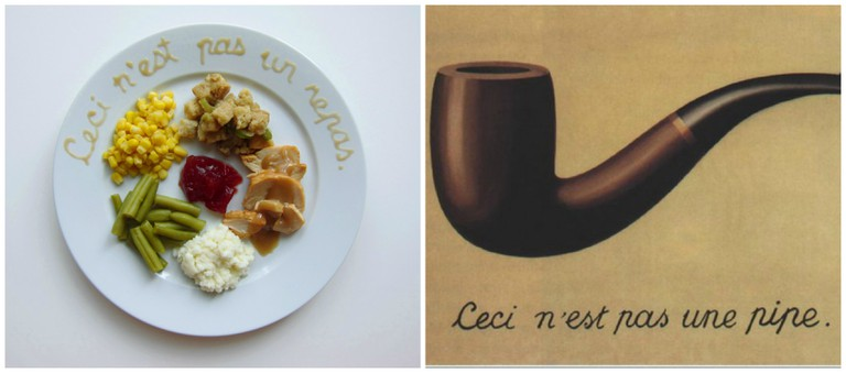 Left, inspired by René Magritte. Right, Magritte Ceci n'est pas une pipe