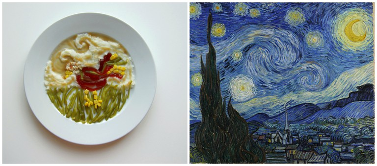 Left, inspired by Vincent Van Gogh. Right, Van Gogh – Starry Night – Google Art Project