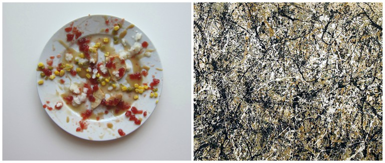 Left, inspired by Jackson Pollock. Right, Jackson Pollock
