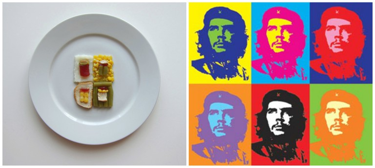 Left, inspired by Andy Warhol. Right, Che Guevara 1962 Andy Warhol Poster