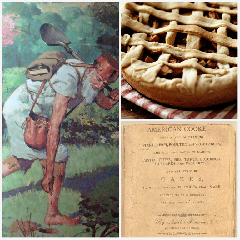 Johnny Appleseed in 'Pecos Bill and Other Tales' by Irwin Shapiro and Illustrated by Al Schmidt. (Golden Press, 1958) | © Sean/Flickr | Vegan Apple Pie | © Suzette/WikiCommons | American Cookery (1st Ed, 1796, cover) | Public Domain/WikiCommons