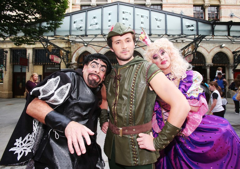 Actors in the 2016 Gaiety Panto outside the theatre | Courtesy of The Gaiety Theatre