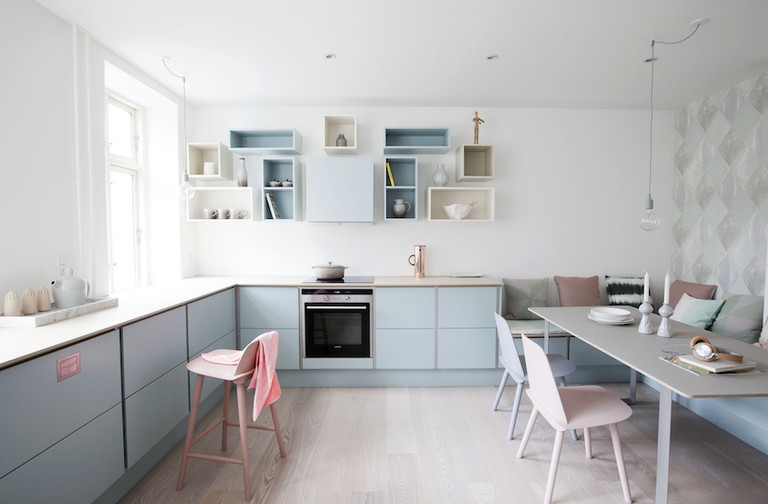 This pastel-coloured kitchen in Denmark was designed by Katrine Kaul