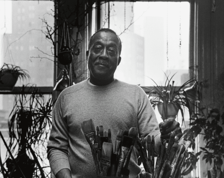 Norman Lewis in the studio | © Budd/Estate of Norman W. Lewis; Courtesy of Michael Rosenfeld Gallery, New York