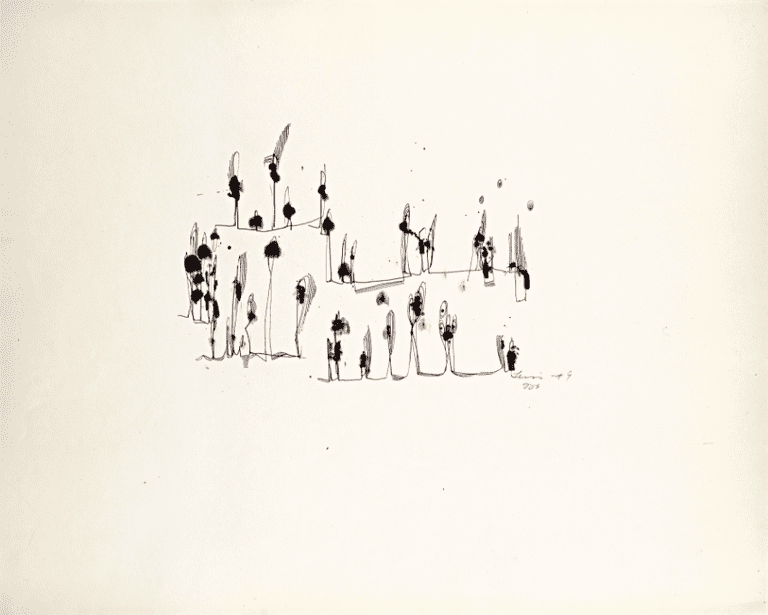 Untitled (Fingerprints), 1949 Ink on paper, 19 x 24 in. | © Estate of Norman W. Lewis; Courtesy of Michael Rosenfeld Gallery LLC, New York, NY
