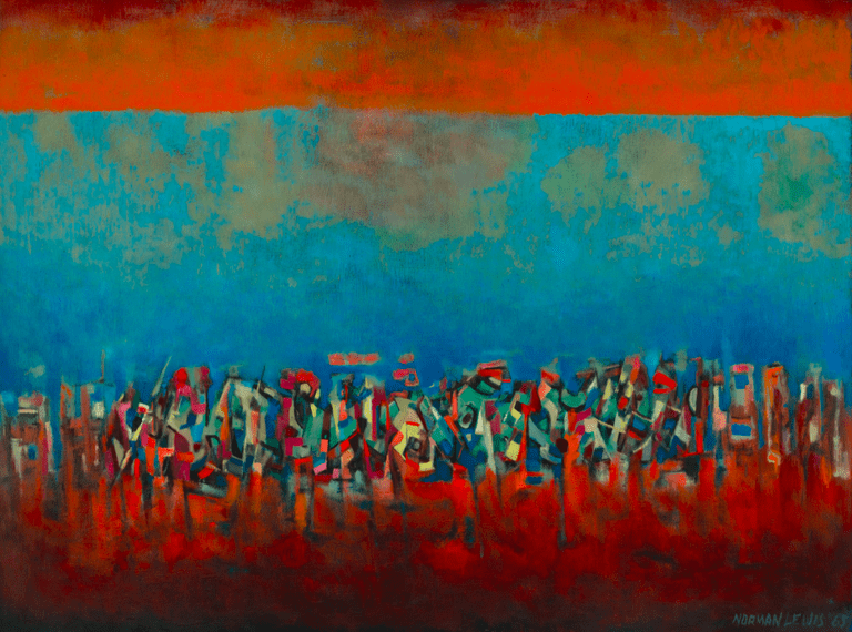 Title Unknown (March on Washington), 1965 Oil on fiberboard, 35 1/4 x 47 1/2 in. | © Estate of Norman W. Lewis; Courtesy of Michael Rosenfeld Gallery LLC, New York, NY