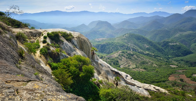 Panoramic views of the mountains from the hot springs Hierve El Agua in Oaxaca, Mexico