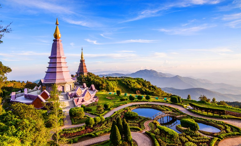 Two pagoda on the top of Inthanon mountain, Chiang Mai, Thailand.