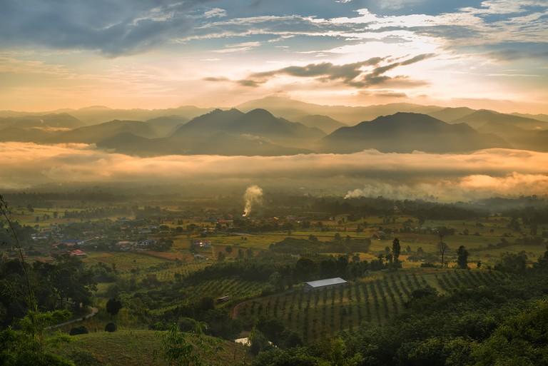 Sea of mist and sunrise at yun lai view point, Pai , Mae Hong Son, Thailand