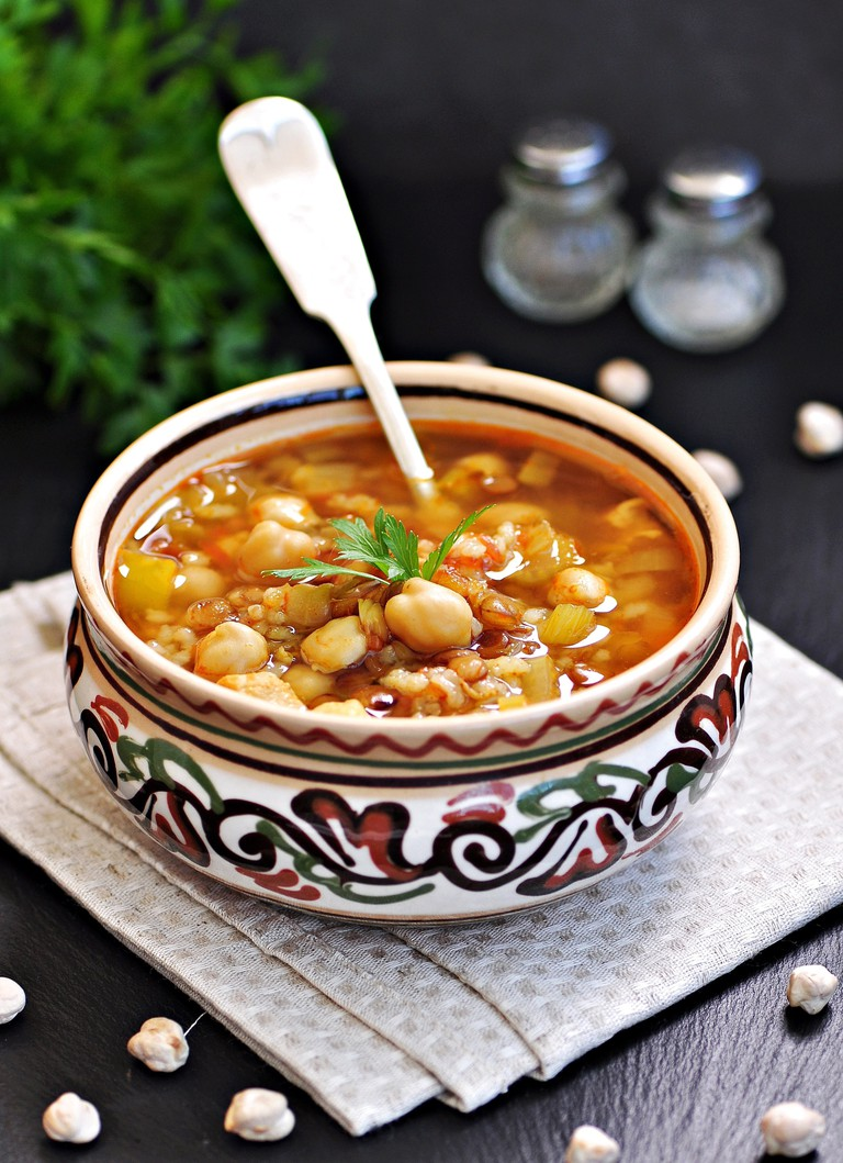 Moroccan harira soup in a traditional bowl